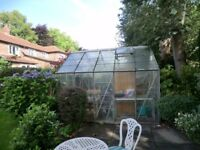 10' X 9' GLASS GREENHOUSE. GOOD CONDITION