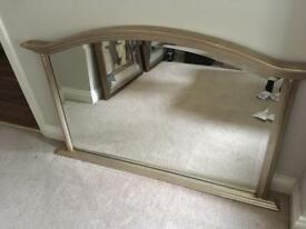 Antique gold coloured over mantle mirror