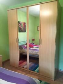Beech 4 door wardrobe with 2 mirrors