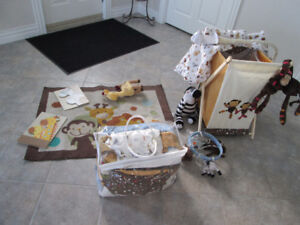 CRIB SET WITH ACCESSORIES PAID $500.00 LIKE NEW