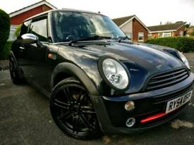 Black Mini Cooper 2004, rare twin pan roof, alloys, supercharged, half leather