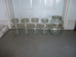 5 glass storage containers/jars