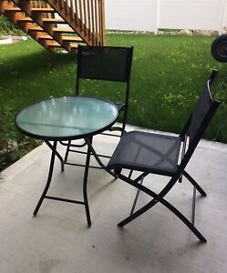 3pc Bistro Set with folding table and chairs