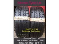 205-55-16 / 205-55 R16 Continental ContisportContact 1 Part Worn Tyres 5mm+ Tread