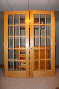 SOLID OAK FRENCH DOORS and STAIR PARTS