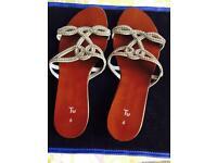 TU brown & silver diamanté ladies sandals, size 6