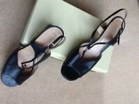 Ladies strappy navy leather heeled sandals, good condition,