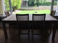 Extra large dining table and 4 chairs 90cm x 180cm