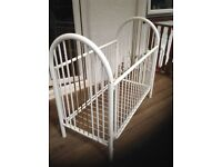 Motherecare Florentine dropside Cot (already assembled) ready to go tubular metal framed cot