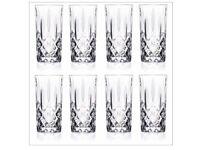 8 Cut Glass HiBall Glasses