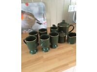Coffee /tea set classic green with gold trim used once vgc