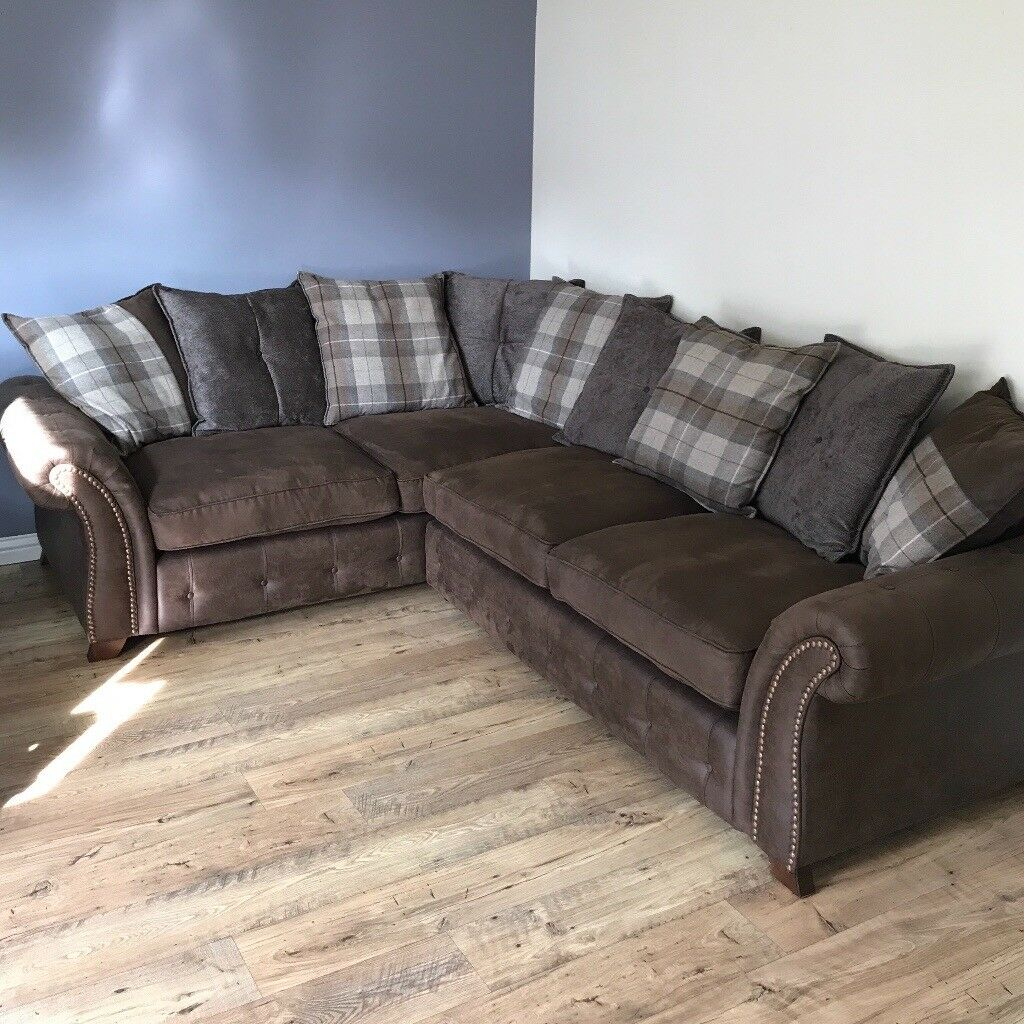 Leather Sofas At Dfs: DFS HEATON 3 SEATER FABRIC, RIGHT-HAND CORNER SOFA