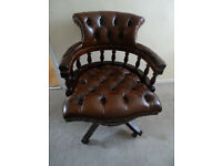 Brown Leather Mahogany Wood Swivel Chesterfield Captains Chair
