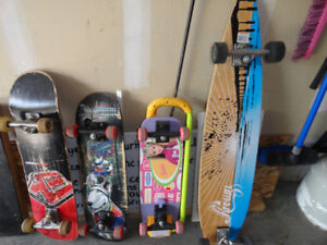 3 Skateboards & 1 Longboard