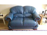Blue leather Sofa & footstool