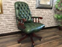 Chesterfield Captains Chair - Antique Green