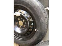 Two Mercedes wheels and tyres
