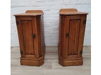 Pair Of Antique Oak Bedside Cabinets (DELIVERY AVAILABLE FOR THIS ITEM OF FURNITURE)