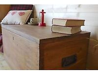 Rustic Solid waxed hardwood chest, trunk, tool box, storage coffee table,toy box