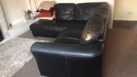 Good quality leather corner settee