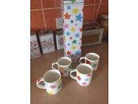 Cath kidston stacking Star mugs and tin
