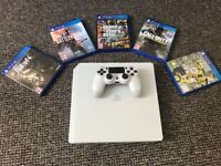 Sony Playstation 4 500gb slim glacier white, comes boxed in mint condition, 5 top games