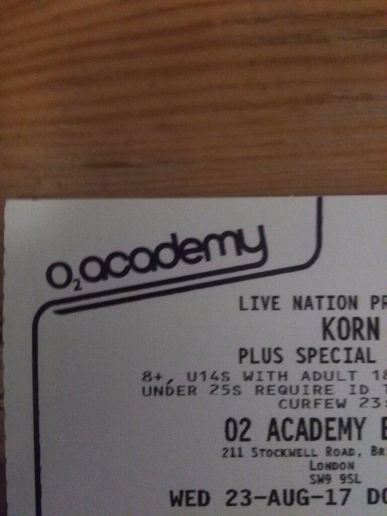 Korn O2 Brixton 23/08 1x ticket