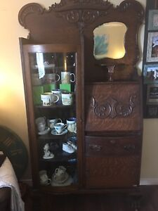 Antique curved glass side by side secretary with mirror