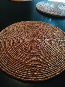 Rattan natural woven placemats, set of 5