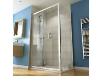 SHOWER DOOR ONLY. Wickes Rectangular Slider Semi Frameless Recess Door Chrome 1200mm