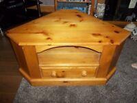pine tv corner cabinet with drawer