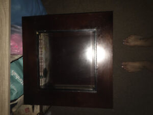 Dark Wood Side Table with Glass In-Lay