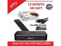 MAG 256 With 12 MONTH GIFT/WARRANTY 5000ch/VOD PPV *Genuine* BEST HD 24/7 SUPPORT 1000 PLUS VOD