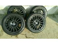 """O.Z 16"""" black alloy wheels 4x 108 and tyres fit Peugeot, ford, fiesta, Renault"""