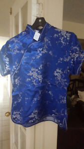 Asian style blue, half-sleeve top, $30 discount