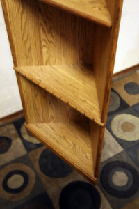 Pair of Fancy Honey Oak (2) Corner Shelving Units SEE VIDEO