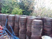 Used oak whiskey barrels for garden patio bar pub