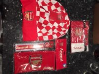 Arsenal pencil case, stationary set and chefs hat