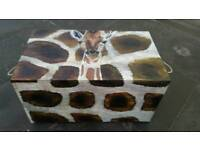 Large handmade and handpainted animal trunk