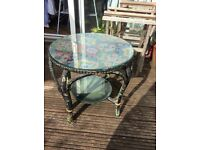 unique vintage glass topped round side table for sale