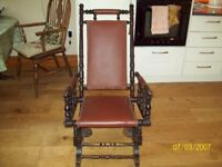 Antique American Style Leather Victorian Rocking Chair Rocker Chair