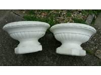 White grecian style plastic planters