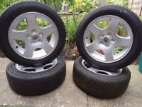 4 x GENUINEAudi VW T4 CADDY ALLOY WHEELS AND WINTER TYRES 205 55 16