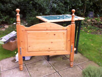 Solid antique pine bed end