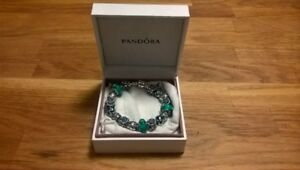 Authentic PANDORA Silver Bracelet with 17 Charms