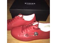 Versace Versus Red Clip Leather Shoes Size 9-10