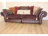 Designer leather & fabric 3 seater chesterfield sofa