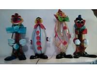 4 Stunning xlarge Vintage Murano Art Glass Clowns