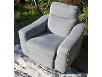 Ex-display Development Grey Fabric Electric Reclining Arm Chair.