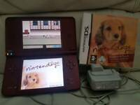 Nintendo dsi xl wine red with nintendogs and charger